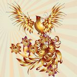 Phoenix bird with leaves vector stock. Vector illustration of a mythical bird phoenix on a colorful background Royalty Free Stock Image