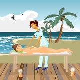 Vector illustration of naked woman pampering herself by enjoying Stock Image