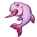 Vector illustration of narwhal in cartoon style Stock Photography