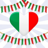 Vector illustration for National Day of Italy. Bunting decoration and heart in colors of italian flag Garlands on a rope Royalty Free Stock Photo