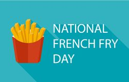 Vector illustration for National French Fries Day. Food banner, poster, card design. USA american traditional holiday royalty free stock photography