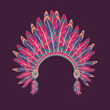Vector illustration of native american indian chief headdress. Vector colorful illustration of native american indian chief headdress with feathers Stock Image