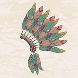 Vector illustration of native american indian chief headdress. Vector colorful illustration of native american indian chief headdress with feathers Stock Images