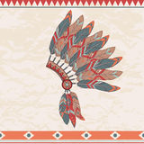 Vector illustration of native american indian chief headdress. Vector colorful illustration of native american indian chief headdress with feathers Royalty Free Stock Image