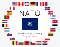 Vector illustration of NATO flags 28 countries Royalty Free Stock Photos