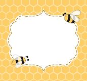 Vector Illustration of a Natural Background with Honeycombs Bees frame hand drawn stock illustration
