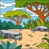 Vector illustration, natural background (savanna) Royalty Free Stock Photography