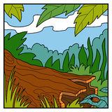 Vector illustration, natural color background. A fallen tree Royalty Free Stock Photos