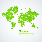 Vector illustration of Nature green map of the world with leaves on a white background. Bright poster on eco theme Royalty Free Stock Image