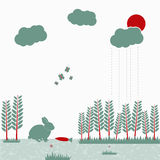 Vector illustration of nature life. Can be used for eco design posters or web-site element. Flat design in mild colors Stock Photos