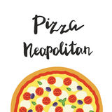 Vector illustration of Neapolitan Pizza and hand lettering. Royalty Free Stock Image