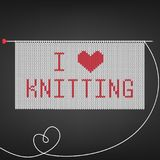 Vector illustration for needlewomen with knitting needle,knitting and lettering `I love knitting` on black background. Stock Image