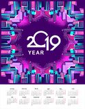 2019 year calendar city. Vector illustration neon city background around perimeter rectangle top view on blue background calendar 2019 Royalty Free Stock Photography