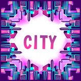 Neon city streets. Vector illustration neon city with fireworks background view street of a perimeter of a rectangle on white isolated background Stock Photography