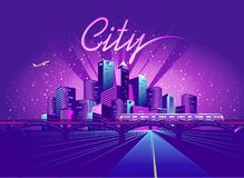 Road to the neon city. Vector illustration neon colored city at night in electric lights road in depth royalty free illustration