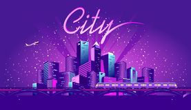 Neon metropolis vector stock illustration