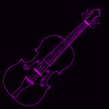 Vector illustration of neon violin Royalty Free Stock Images