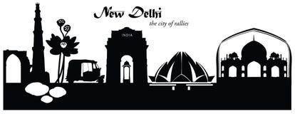 Vector illustration of New Delhi cityscape skyline. Vector illustration of New Delhi India skyline cityscape in black and white silhouette Stock Photos