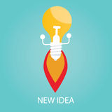 Vector illustration of new idea, start up, bulb Royalty Free Stock Images
