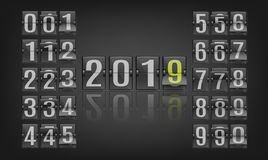 Vector illustration of 2019 new year banner template with flip mechanical timetable in movement. Vector illustration of 2019 new year banner template with flip stock illustration