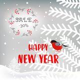 Vector illustration. New Year card with cute characters. Background with bullfinches, christmas trees, landscape, snowfall and royalty free illustration