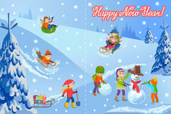 Vector illustration of new year congratulation card with winter landscape happy children playing snowman walking outdoor Royalty Free Stock Image