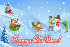 Vector illustration of new year congratulation card with winter landscape happy children playing snowman walking outdoor Royalty Free Stock Images