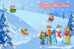 Vector illustration of new year congratulation card with winter landscape happy family playing snowman, skiing, sleding Royalty Free Stock Photography