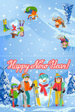 Vector illustration of new year congratulation card with winter landscape happy family playing snowman, skiing, sleding walking ou Stock Photo