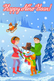 Vector illustration of new year congratulation card with winter landscape happy family playing snowman walking outdoor. Royalty Free Stock Photography