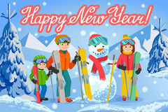 Vector illustration of new year congratulation card with winter landscape Stock Photography