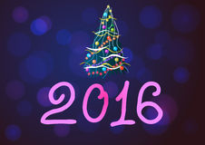 Vector illustration. New Year and cristmas tree on purple background. Royalty Free Stock Images