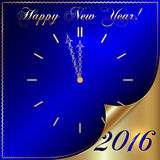 Vector illustration of 2016 new year gold and blue. Greeting card in form of the clock with with curled corner Stock Illustration