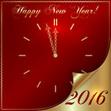 Vector illustration of 2016 new year gold and red. Greeting card in form of the clock with curled corner Royalty Free Stock Photo
