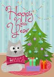 Vector illustration of New Year greeting card with cat at Christmas tree with gifts. Vector illustration of New Year greeting card with cat at Christmas tree Stock Photography