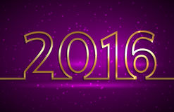 Vector illustration of 2016 new year greeting. Vector illustration of 2016 new year gold and purple greeting billboard with gold wire Stock Photo