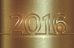 Vector illustration of 2016 new year greeting. Vector illustration of 2016 new year golden greeting billboard with gold wire Stock Photography