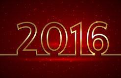 Vector illustration of 2016 new year greeting red. Vector illustration of 2016 new year red greeting billboard with gold wire royalty free illustration