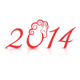 Vector illustration for the 2014 new year. With horse Royalty Free Stock Images