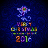 Vector Illustration of 2016 new year Outline neon light BAckground for Design, Website, Banner. Holiday party Element Template. Ch. Ristmas tree toy Monkey royalty free illustration