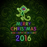 Vector Illustration of 2016 new year Outline neon light BAckground for Design, Website, Banner. Holiday party Element Template. Ch. Ristmas tree toy Monkey stock illustration