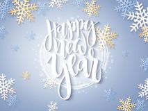Vector illustration of new year party greetings card with hand lettering label - happy new year - with stars, sparkles. Snowflakes and swirls Royalty Free Stock Photo