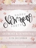 Vector illustration of new year party poster with hand lettering label - happy new year - with stars, sparkles. Snowflakes and swirls in rose gold color Stock Photography