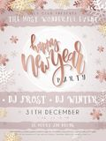 Vector illustration of new year party poster with hand lettering label - happy new year - with stars, sparkles. Snowflakes and swirls in rose gold color Stock Photos
