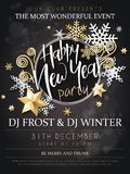 Vector illustration of new year party poster with hand lettering label - happy new year - with stars, sparkles. Snowflakes and swirls Stock Image