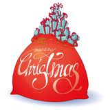 Christmas bag with a gift in a cartoon style stock illustration