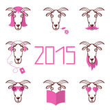 Vector illustration about the new year 2015 set heads of goat wi. Vector design illustration about the new year 2015 set heads of goat with different pink things stock illustration
