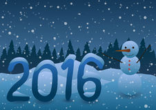 Vector illustration. New Year 2016 Snowman on the background of Christmas trees. Royalty Free Stock Photo