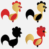 Vector illustration. 2017 New Year Symbol. Red and Gold the traditional colors. Vector set of cocks, Vector illustration. 2017 New Year Symbol. Red and Gold the Royalty Free Stock Image