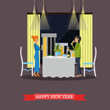 Vector illustration of New Years Eve celebration design element. Vector illustration of man and woman with glasses of champagne. Festive dinner. New Years Eve Royalty Free Stock Photography